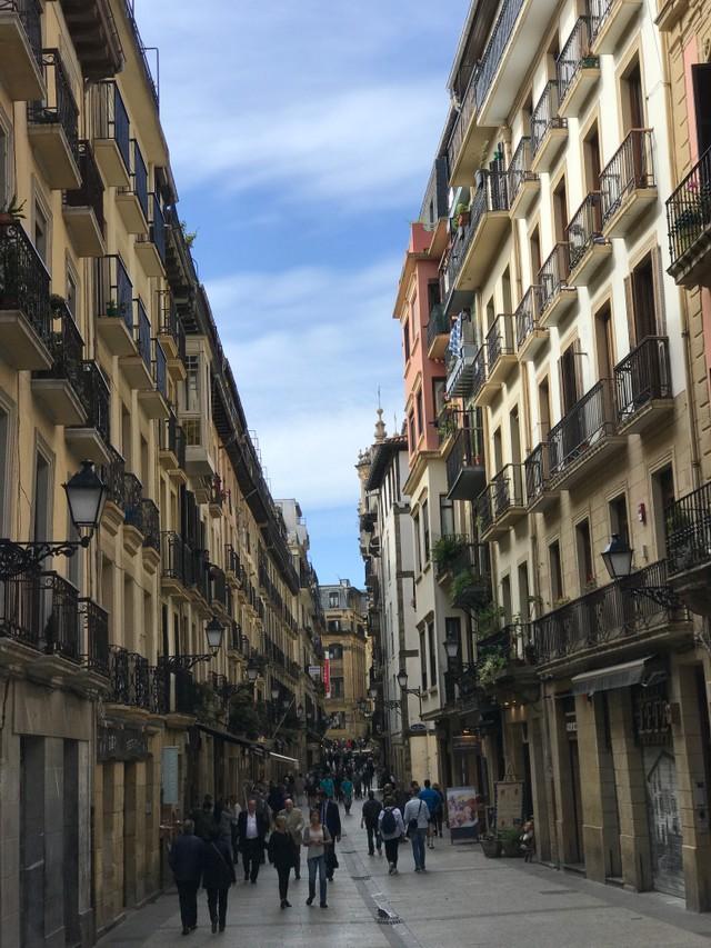 Old town scene in San Sebastian
