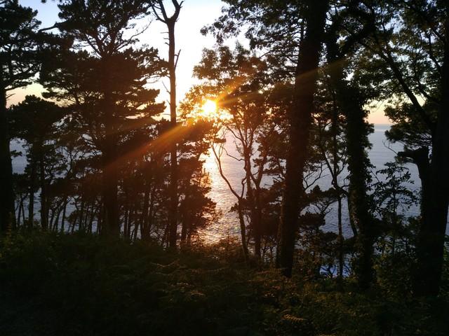 sunset in San Sebastian from monte urgull