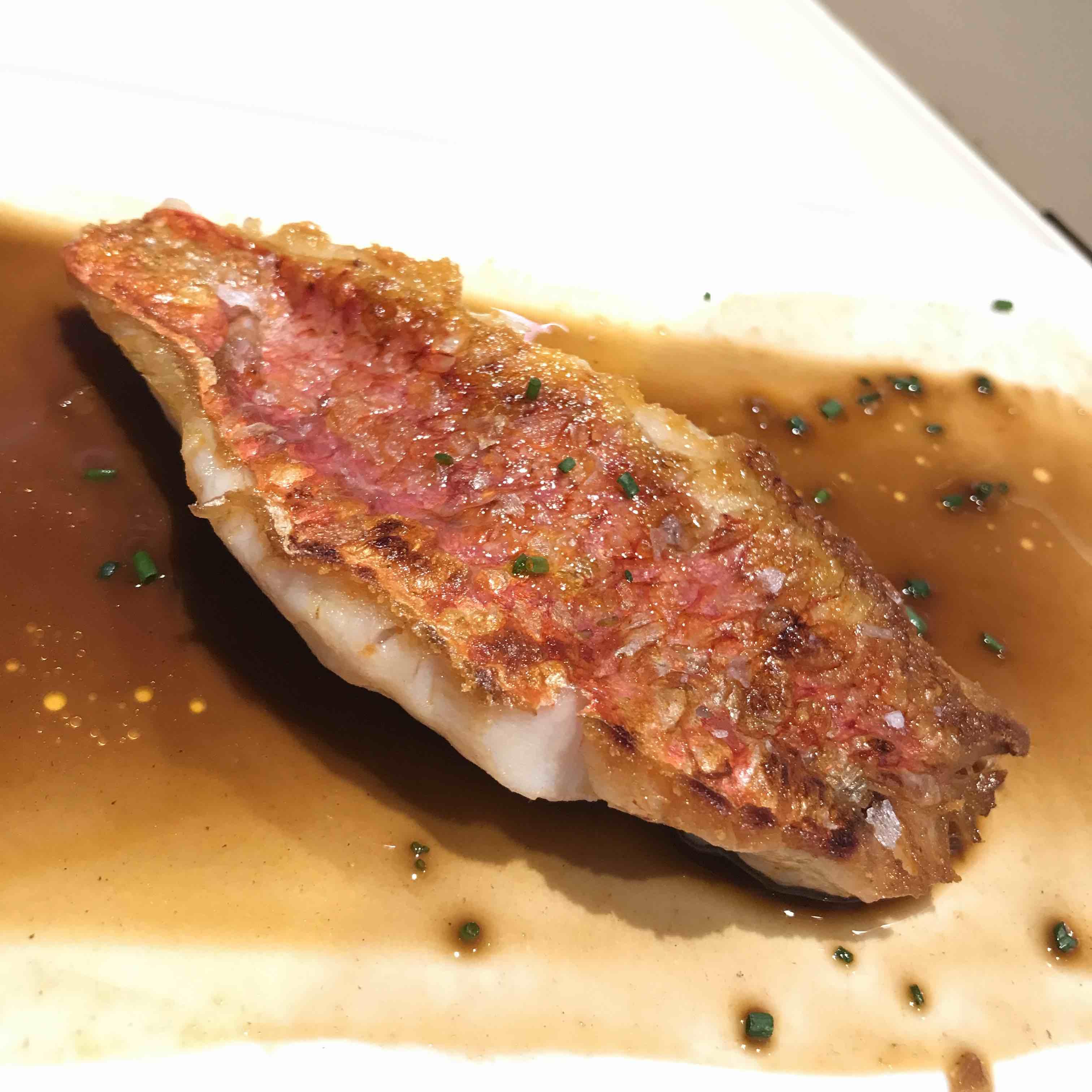 red mullet with prawn sauce kapadokia bar in San Sebastian